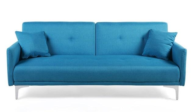 Küçük daireler için mavi bir kanepe