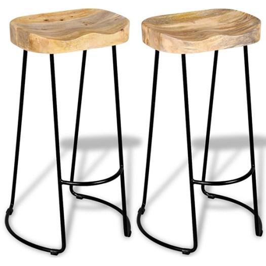 Taburete de cocina rústico moderno en metal negro y madera
