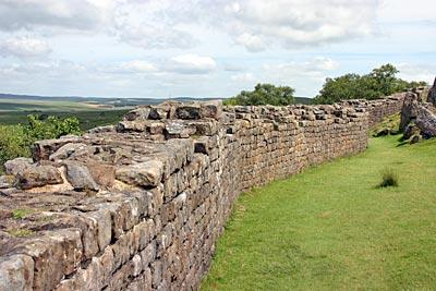 Les vestiges actuels du mur d'Hadrien en Angleterre