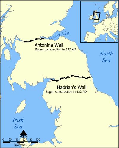 Hadrianswall und der spätere Antoninuswall