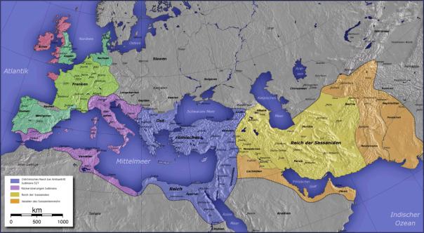 Historische Karte des Byzantinischen Reiches vom 6. bis zum 9. Jahrhundert