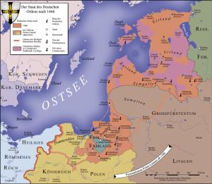 Das nach dem 2. Frieden von Thorn 1466 verbliebene Ordensland Preußen sowie das Meistertum Livland; das grün dargestellte Ermland war Teil des Königlich (polnischen) Preußen geworden, hatte darin aber einen Sonderstatus mit weitgehender Autonomie