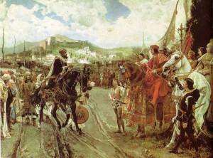 Boabdil consegna Granada alla coppia reale spagnola nel 1492 (dipinto storico del 1882)