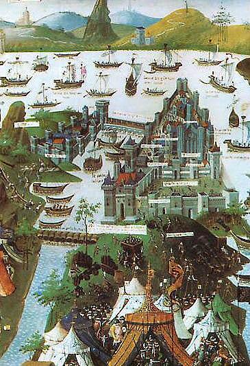 Die Belagerung Konstantinopels durch den türkischen Sultan Mehmed II. im Jahr 1453