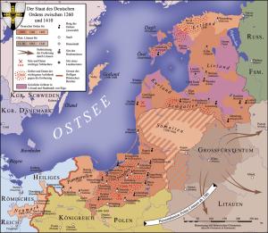I possedimenti, quartier generale e acquisizioni dei Cavalieri Teutonici in Prussia e Livonia Union fino all'anno 1410