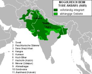 阿克巴尔逝世时莫卧儿帝国的扩张(1605年)