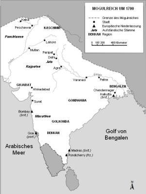 L'Empire Mughal vers 1700 sous Aurangzeb