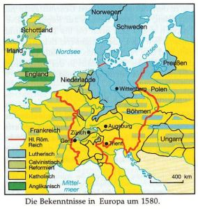 Die religiösen Bekenntnisse in Europa um 1580