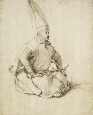 Sitzender Janitschar, Zeichnung von Gentile Bellini um 1480