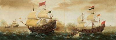 Darstellung einer spanischen Galeone (links); Cornelis Verbeeck, ca. 1618/1620