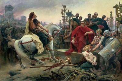 Vercingétorix dépose ses armes aux pieds de César (peinture historique de Lionel Royer, 1899)