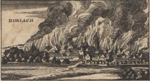 Горящий Durlach 1689 (современная иллюстрация)