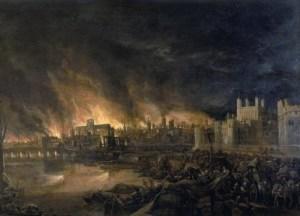 Le grand incendie de Londres le 2 septembre 1666