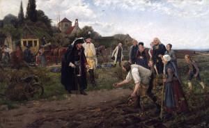 Фридрих II инспектирует на одной из его инспекционных поездок посадку картофеля