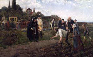 Friedrich II. inspiziert auf einer seiner Inspektionsreisen den Kartoffelanbau