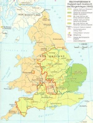 Machtverhältnisse in England nach Ausbruch des Bürgerkrieges 1643