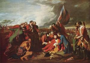 亚伯拉罕平原之战:詹姆斯沃尔夫将军之死。 绘画作者:本杰明·韦斯特,1770年