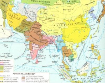 Mappa Asia nel 18° secolo