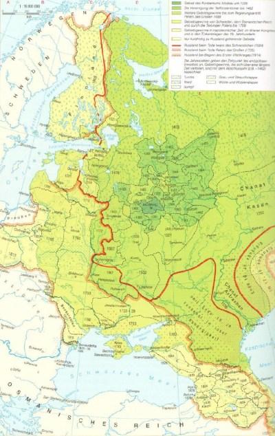 Carte de la Russie du XIVe au XXe siècle