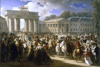Napoleone si trasferisce a Berlino il 27 ottobre 1806 alla testa delle sue truppe (quadro storico di Charles Meynier, 1810)