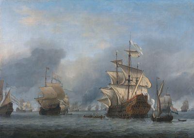 Die Kapitulation der auf Grund gelaufenen Royal Prince in der Viertageschlacht. Gemälde von Willem van de Velde d. J., 1666