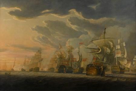 Die Seeschlacht bei St. Vincent. Gemälde von Robert Cleveley aus dem Jahr 1798