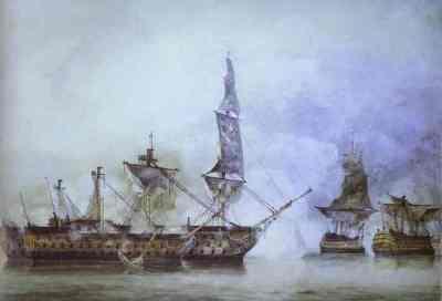 La Victory nella battaglia con parecchi francesi navi di linea