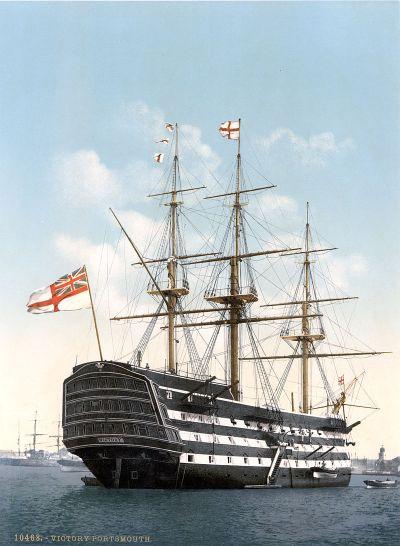 La HMS Victory a Portsmouth intorno al 1900