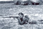Canadian soldier with bayonet mounted in the second world war