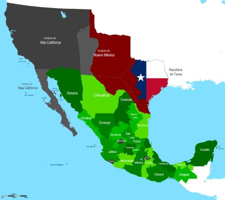 Die von Mexiko abgetretenen Gebiete Alta California, Nuevo Mexico, die umstrittenen Gebiete und der unabhängig gewordene Staat Texas