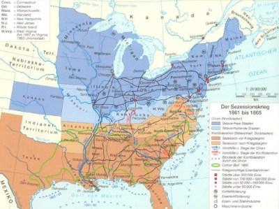 Karte des amerikanischen Bürgerkrieg