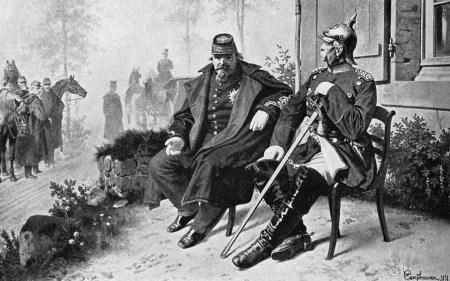 Napoléon III. als preußischer Gefangener im Gespräch mit Bismarck nach der Schlacht bei Sedan vor dem Maison Tisserand