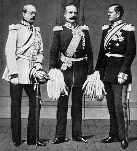 Otto von Bismarck, Kriegsminister Albrecht von Roon und Generalstabschef Helmuth von Moltke (von links nach rechts)