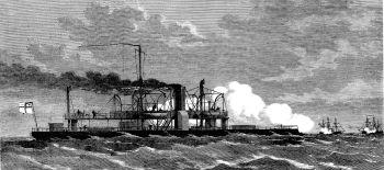 Norddeutsches Panzerschiff SMS ARMINIUS im Gefecht mit französischen Panzerschiffen vor der Wesermündung 24. August 1870. Zeitgenössische Darstellung