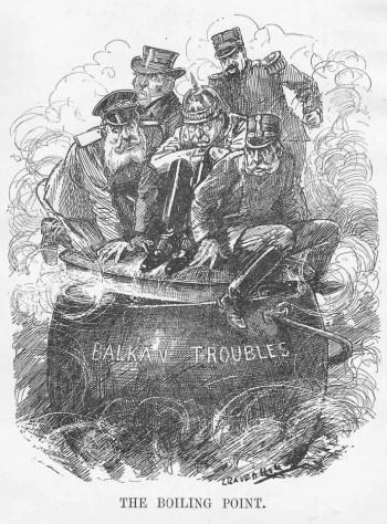1912年的当代漫画描绘了巴尔干地区的局势