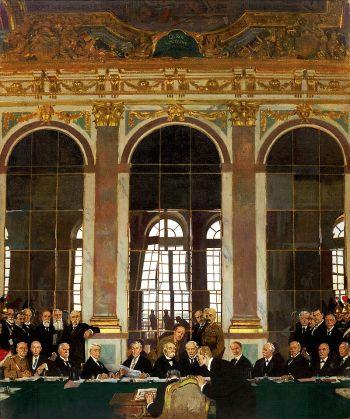 合同签署在凡尔赛城堡的镜子画廊
