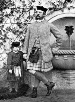 Guglielmo II con il padre Friedrich Wilhelm a Balmoral Castle, Scozia (1863)