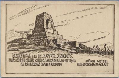Gedenkpostkarte der 12. Infanterie-Division, gezeichnet und signiert vom Kommandeur Hugo von Huller, verlegt von Divisionspfarrer Jakob Weis