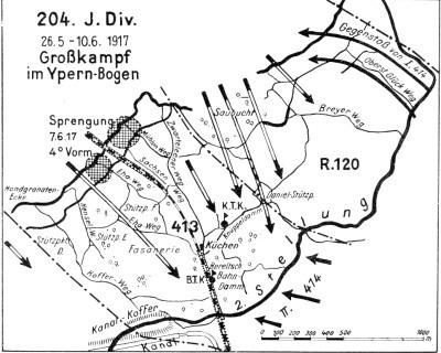 Kämpfe im Ypern-Bogen Mai und Juni 1916 der 204. Division