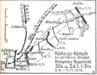 Rückzugskämpfe der 243. Infanterie-Division im November 1918