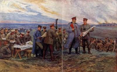 Paul von Hindenburg und sein engerer Stab in der Schlacht bei Tannenberg am 29. August 1914