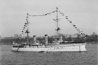 SMS Hertha dopo la conversione a nave scuola a New York nel 1909