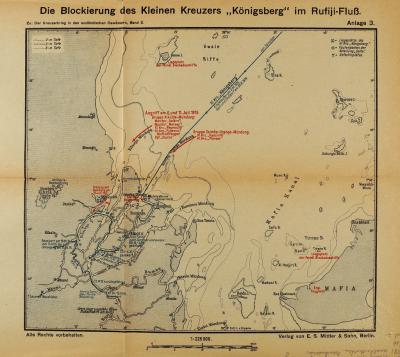 Блокировка Маленького крейсера Кенигсберг в реке Руфийи