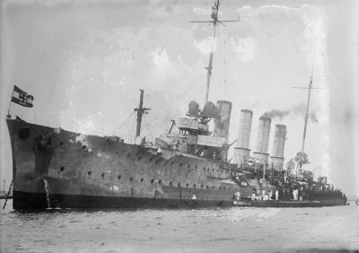 The SMS Karlsruhe on 9 August 1914 in San Juan