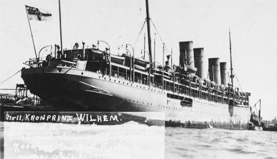 Интернированный наследный принц Вильгельм с серой военной окраской в 1915 году еще под немецким флагом. Выносить приговор хорошо оба кормового орудия