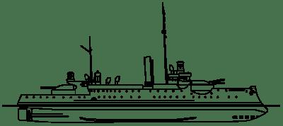 Vue latérale du pétrolier côtier allemand SMS Siegfried dans l'état de 1890 à tribord