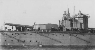 L'un des principaux canons du HMS Vanguard