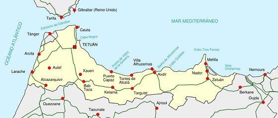 Territorios espanoles al norte de Marruecos al 1956