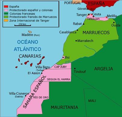 Territorios espanoles en Africa al 1956