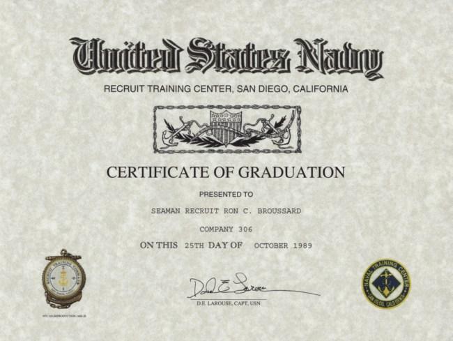 Navy Recruit Training Certificate